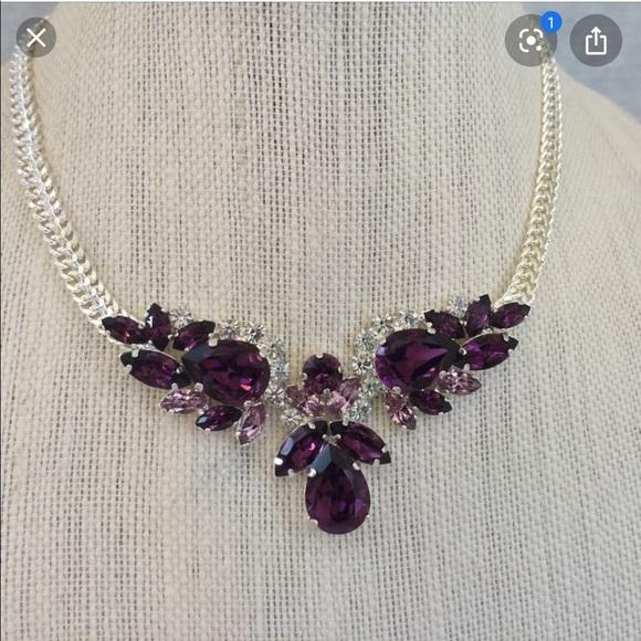 Swarovski Purple Crystal earrings and necklace set